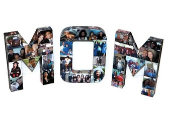 Unique MOTHER'S DAY GIFT | Photo gift for mom | Gift for Mom | Photo letter collage covered with photos 3D picture frame