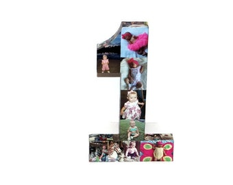 """Baby's First Birthday Number 1 One 1st Wedding Anniversary Paper Gift 16"""" Photo Number Picture Collage 360' 3D Rare photo frame"""