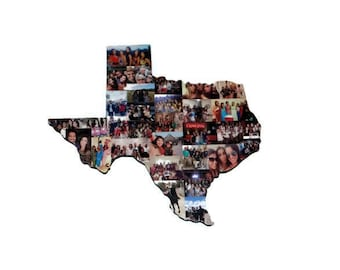 State of Texas State of California State of Ohio State of Indiana State of FL Wooden Custom State Collage Gift College Moving Missing Home