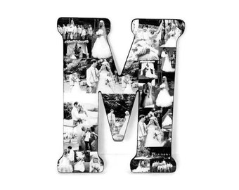 "18"" Letter Collage Photo  Wedding Day photos Gift Anniversary Engagement Birthday Bridal Shower Best friend Gift Senior Night Grad Coach"