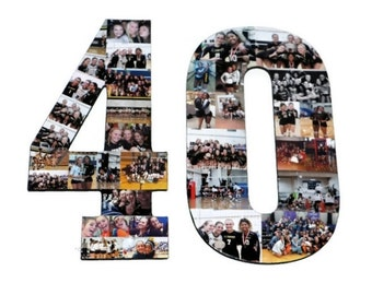 Number 40 Photo Number Collage Picture frame College Sport 40th Wedding Anniversary 40th Birthday Senior night year 2017 Jersey Number 40