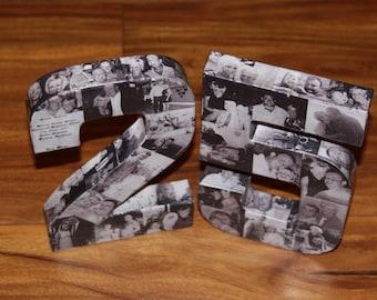 25th Wedding Anniversary Birthday 10th 50th 75th Photo Letter Collage Handmade Picture Graduation Senior Junior 2015 pep rally 360' 3D