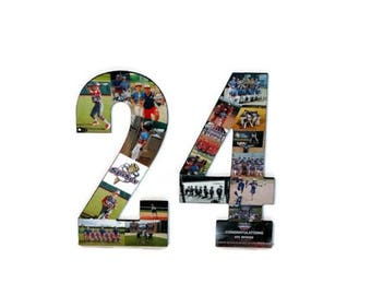 24 Number 24 Photo Number Collage Picture frame College Sport Jersey Number 24 Wedding Anniversary 24th Birthday Senior night year 2017