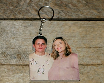 Custom Photo Key Chain, Photo Wood Statuette Key Chain, Picture Key Chain, FAMILY Key Chain, Photo Ornament Personalized, NYE 2021 Magnet