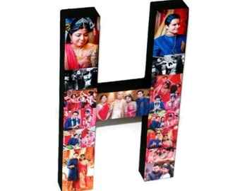 Initial H with photos, Picture Collage, Wedding Gift Keepsake, Gift for the couple