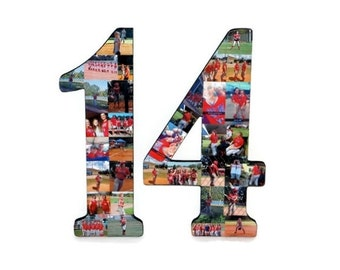 "14 Senior Night Number Photo Collage Huge 18"" Two Digit Letter Collage Birthday Party Jersey Number Graduation Fraternity 2018 Number 14"