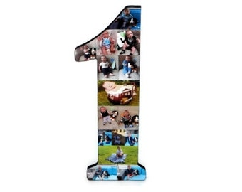 """Number 1 One with Photos Number Collage Baby's First Birthday One Year Wedding Anniversary 18"""" Huge Wooden Number Jersey Number Baby 1st"""