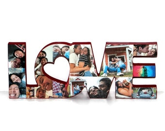LOVE wood cut out with photos, LOVE photo collage,  Valentine's Day Gift, Valentines Day Gift, valentines day gift for her him,