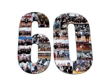 """Number 60 Photo Number Collage Picture frame College 60th Wedding Anniversary 60th Birthday Senior night year 2017 Jersey Number 60 13"""""""
