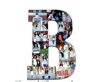 "Photo Collage Letter Large 13.5"" Wood Father's Day Graduation Wedding Senior Photos Best Friend Gift Anniversary"