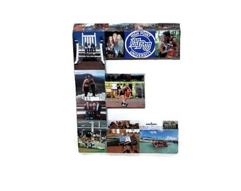 Graduation Gift Senior Year Photo collage Letter Wedding Congrats Personalized Custom Picture Paper Mache 3D all sides