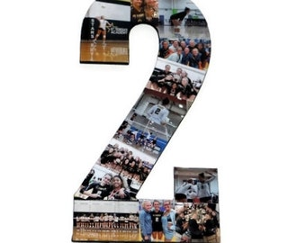 Number 2 Photo Number Collage Picture frame College Sport 2nd Wedding Anniversary 2nd Birthday Senior night year 2017 Jersey Number 2