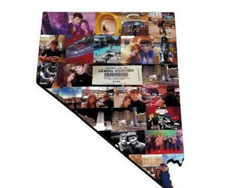 Nevada State Wood Cut out NV | Vegas State Collage | State Collage with Photos | Moving away gift | Missing Home Gift | College Dorm Room