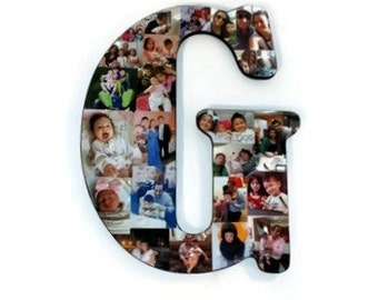 """18"""" Letter Photo Collage or Number Collage Anniversary Engagement Birthday Father's Day Bridal Shower Best friend Gift Senior Night Grad"""