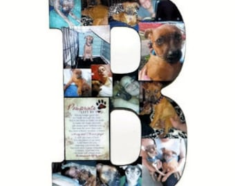 Wedding Birthday Wooden Photo Letter Picture Letter Custom  Personalized Monogram 13'  Letter Photo Collage Pet in Loving Memory Sympathy