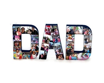 """Mother's Day Photo letter Collage with hand painted back and side and front with photos / 8"""" 3D pictures 360 Mom, Dad, Bro, Sis"""