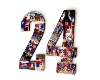 Number 24 Photo Number Collage Picture frame College Sport Jersey Number 24 Wedding Anniversary 24th Birthday Senior night year 2017