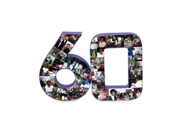 3D 60th Birthday Anniversary Number Photo Collage Two Digit Party Senior Night Jersey Number Graduation Football Soccer Baseball Basket Ball