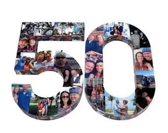 50th Birthday Centerpiece 50th Birthday Decoration, Party Table Decoration, 50th Anniversary Party, Number Photo Collage