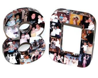 Number 80 80th Birthday Eighty 10th 30th 40th 100th Photo Number Letter Picture Collage Class Reunion Jersey 360 3D