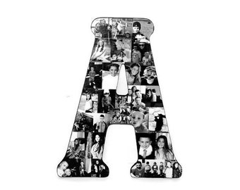 "Huge 18"" Letter Photo Collage or Number Collage Anniversary Engagement Birthday Fathers Day Bridal Shower Best friend Gift Senior Night Grad"