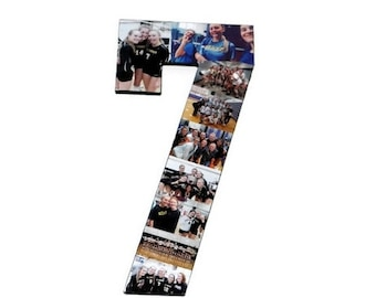Number 7 Photo Number Collage Picture frame College Sport 7th Wedding Anniversary 7th Birthday Senior night year 2017 Jersey Number 7