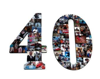 """Forty Number 40 40th Birthday 40th Anniversary Number Photo Collage 18"""" Senior Night Jersey Number Graduation centerpiece Party Decor"""