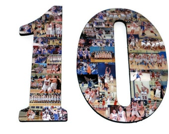 """10 10th Senior Night Number Photo Collage Huge 18"""" Two Digit Letter Collage Birthday Anniversary Party Jersey Number Graduation Fraternity"""