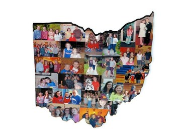 OHIO | Ohio State Photo Collage on Wood | Wooden State Cut out | Collage Gift | College Moving | Missing Home | State Collage with photos