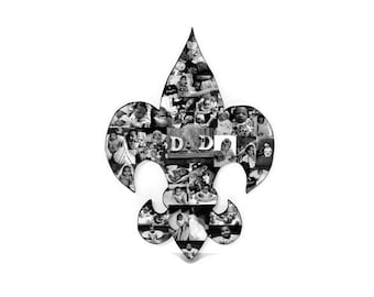 Saint Symbol Wood Cut out with photos Picture Collage  fleur-de-lis stylized lily Royal Symbol Symbol of power