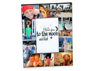 Gift for mom I love you to the moon and back Frame Collage Picture Photo Frame College Sibling Boyfriend Girlfriend Nephew Niece Child