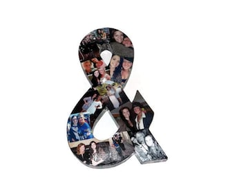 Ampersand Sign & Sign Photo Collage letter Girlfriend Gift, College Dorm Room, Sorority Big Little Wedding Birthday Picture3D Frame 16""
