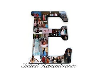 "Graduation Huge 18"" Letter Photo Collage Letter College Anniversary Engagement Birthday Bridal Shower Best friend Gift Senior Night E Number"