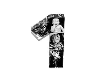 Number one 1st Birthday Wedding Anniversary Baby's First Birthday Number 1 One Paper Gift Picture Collage 360' 3D Rare photo frame 12 mo