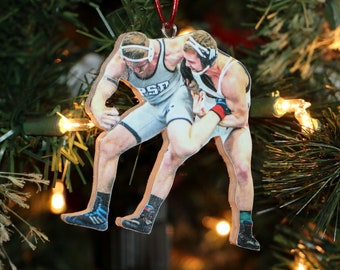 Wrestler Ornament, Wrestling Sports Action Photo Ornament, Senior Night Gift, Photo Ornament, Football, Thanks coach gift, Picture Statuette