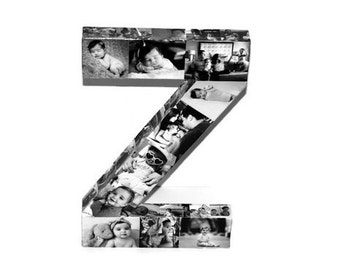 Children's Room Picture Collage Initial 3D Picture Frame Photo letter collage Gift, College Dorm Room Wedding Birthday Initial Monogram