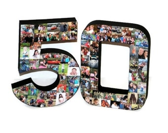 3D 50th Birthday Anniversary Number Photo Collage Two Digit Party Senior Night Jersey Number Graduation Football Soccer Baseball Basket Ball