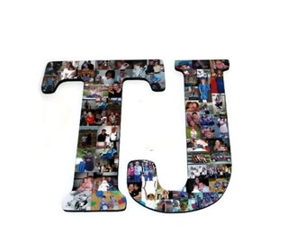LETTER T or LETTER J Graduation photo centerpiece, Graduation party planning, Photo Collage Letter, Open House ideas, Grad Party Decorations