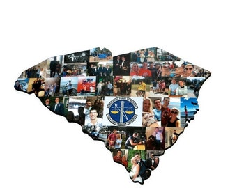 SOUTH CAROLINA, SA State Wood Cut out | State Collage | State Collage with Photos | Moving away gift | Missing Home Gift | College Dorm Room