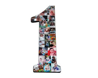 "Number One 1 Baby's 1st First Birthday with Photos Number Collage One Year Wedding Anniversary 18"" Huge Wooden Number Jersey Number Baby 1st"