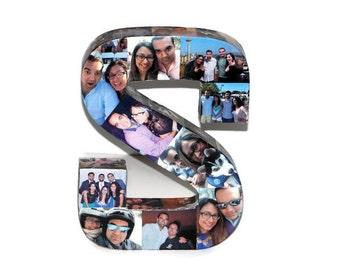 Custom Initial Photo Collage Letter Girlfriend Gift Children's College Dorm Room Wedding Birthday Picture Letter Personalized Monogram 3D