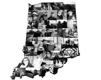 Indiana State Wood Cut out | Indiana State Collage | State Collage with Photos | Moving away gift | Missing Home Gift | College Dorm Room