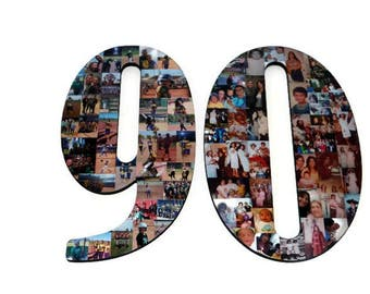 "Number 90 90th Birthday 90th Anniversary Number Photo Collage 18"" Senior Night Jersey Number Graduation centerpiece Surprise Party Decor"