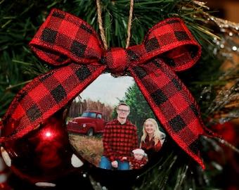 Custom Photo Ornament, Wood Slice Ornament, Buffalo Plaid Ornament, Rustic Decor, Christmas Ornament, Wooden Ornament, Ornament with Picture