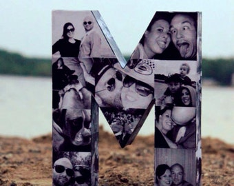 Valentine's Day Gift Photo Letter Collage custom Wedding Engagement Bridal Personalized Picture Paper Mache Collage 3D Monogram Alphabet