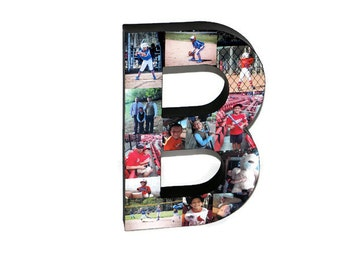 """3D 16"""" Huge Photo letter collage Gift Picture Frame Children's, College Dorm Room Wedding Birthday Initial Personalized Monogram"""