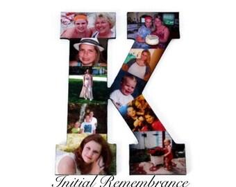 Collage photo Letter Initial Wooden Picture photomontage Custom Monogram Best Friend Photo Frame boyfriend girlfriend Wedding anniversary