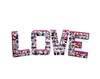 Love Sign Love Letter Photo Collage Valentine's Day Gift Girlfriend Boyfriend Gift The word Love with photos collage Her Him Wife Husband