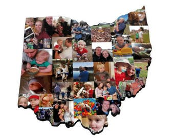 Large Wooden Custom State Collage Gift College Moving Missing Home Ohio State of Ohio