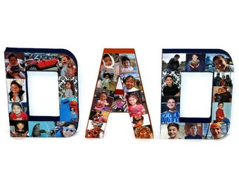 "Fathers Day Gift Gift for dad Photo letter Collage with hand painted back and side and front with photos / 8"" 3D pictures 360 Mom, Dad, Bro,"
